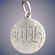 Antique Victorian  Initial WH Love Token Coin 800/1000 Silver