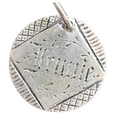 Antique Victorian Name Jennie Seated Liberty Love Token Coin 800/1000 Silver
