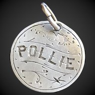Antique Victorian Name Pollie Love Token Coin 800/1000 Silver