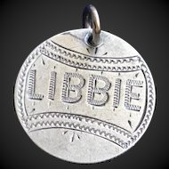 Antique Victorian  Libbie 1883 Name Love Token Coin 800/1000 Silver