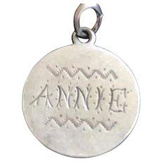 Antique Victorian  Annie 1873 Name Love Token Coin 800/1000 Silver