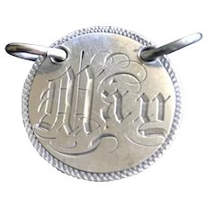 Antique Victorian  MAY  Name Love Token Coin 800/1000 Silver