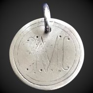 Antique Victorian  M Initial 1861 Name Love Token Coin 800/1000 Silver