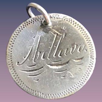 Antique Victorian  Arthur 1884 Name Love Token Coin 800/1000 Silver
