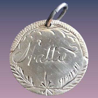 Antique Victorian  Hattie 1855 Name Love Token Coin 800/1000 Silver
