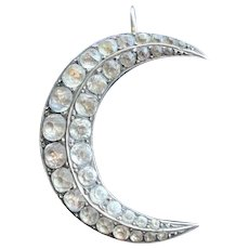 Large 800/1000 Silver Crescent Moon w/ Paste Stones