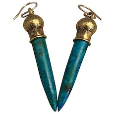 22KT Gold Engraved Earrings with Peruvian Blue Opal Icicle Drops OOAK