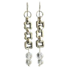 Sterling Silver Chunky Link Earrings with Faceted Rock Crystal Drops