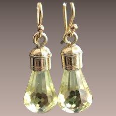 9CT Gold Lemon Quartz Gemstone Drop Earrings