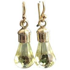 9CT Gold Lemon Quartz Mourning Stones Gemstone Drop Earrings - Red Tag Sale Item