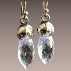 Rock Crystal Gold Topped Earrings Charms