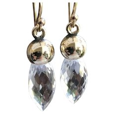 Rock Crystal Gold Topped Mourning Stones Earrings Charms