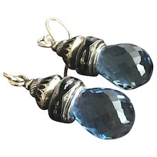 Synthetic Quartz on Enameled Mourning Watch Chain Mounts as Earrings