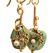 Wrapped Turquoise Drop Earrings w/ Diamonds and Cultured Pearls