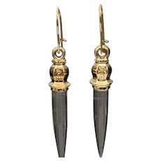 14KT Solid Gold Icicle Rock Crystal Quartz Earrings