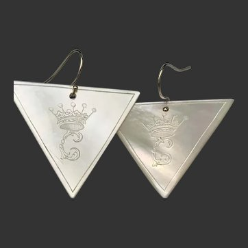 Antique Chinese Mother of Pearl Engraved Gambling Chips Earrings