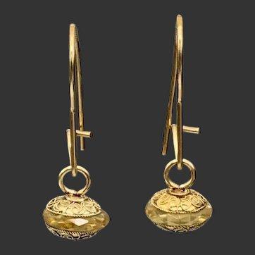 Citrine Gemstone 14KT Gold Dangle Earrings