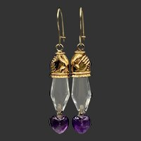 14KT Gold Clasped Hand Earrings in Rock Crystal and Amethyst Hearts