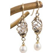 Herkimer Gemstone Earrings in 14K Solid Gold Cages w/ Freshwater Pearls