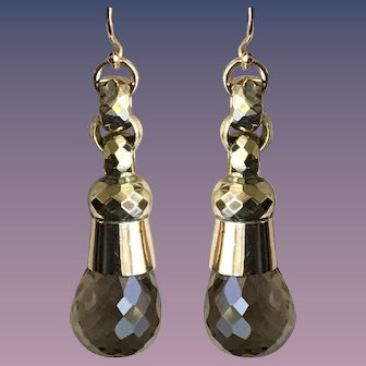Faceted Gold Bead Earrings w/ Smoky Quartz