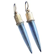Rock Crystal Icicle Earrings in 14KT Gold