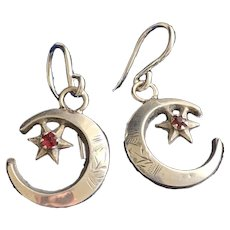 Crescent Moon Sterling Silver Earrings Hallmarked