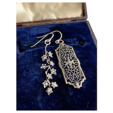 Mismatched Filigree and Ivy Branch Earrings in Sterling