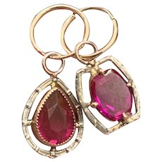 10KT White & Yellow Gold Synthetic Ruby Earrings