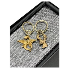 Gold Griffin and Stag Dangle Hoop Charm Earrings