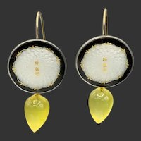 Guilloche Enamel w/ Lemon Quartz Earrings in Gold/Silver