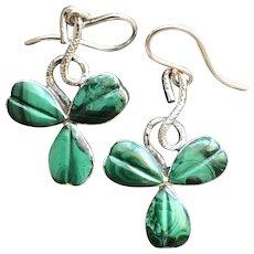 Celtic Malachite Sterling Silver Scottish Shamrock Goodluck Earrings