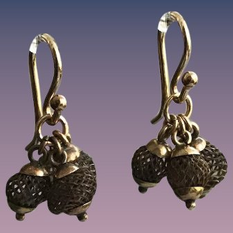Antique Mourning Hair Earrings in 9CT Rose Gold