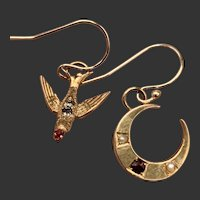 Victorian Swallow and Crescent Moon Earrings in Gold