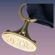 Antique Victorian 14K Solid Gold Hallmarked Watch Black Mourning Fabric Fob