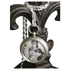 Mourning Locket from a Pocket Watch Case on a Marine Chain