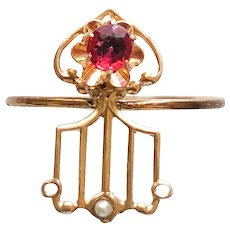 Solid Gold 10K Red Paste Arrow and Cultured Pearl  Conversion Pinkie or Midi Ring Size 4