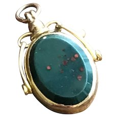 English Bloodstone and Carnelian Spinner Fob Hallmarked Solid Gold 9CT 1911 - Red Tag Sale Item