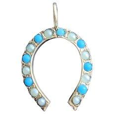 Turquoise Horseshoe Charm Pendant