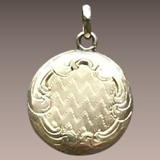 Solid 9CT Gold Mourning Hair Locket Charm w/ Faceted Bale