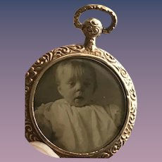 Antique Victorian 9CT Rose Gold Mourning Locket Hinged