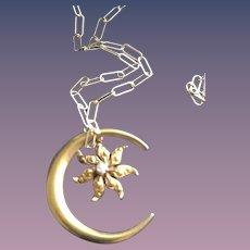 Crescent Moon Pendant w/ Diamond Star Necklace