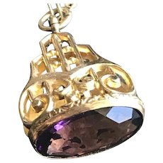 Antique Purple Paste Wax Seal Fob as Pendant Necklace