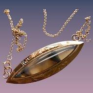 10KT Gold Victorian Agate Evil Eye Pendant on 14KT Chain
