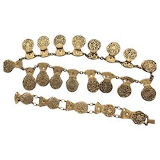 Antique Victorian Gilt Fusee 17th 18th Century Watch Cock Necklace and Bracelet Set