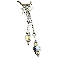 Solid 9KT Gold Cluster Charms on a Faceted Belcher Chain w/ Slide