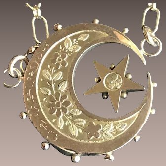Antique 9CT Gold Moon Stars Brooch Necklace
