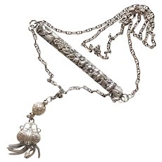 Sterling Silver Ornate Bar Necklace w/ Tassel and Freshwater Pearl