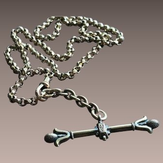 Antique Victorian Ornate Tbar Fob on a Faceted Belcher Necklace