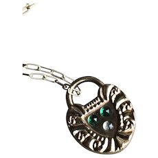 Vintage Victorian Paste Faux Padlock Charm Necklace