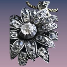 Antique Paste Flower Pendant in Sterling Silver Mourning Locket 1919 on Gold Choker